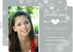 Gray Dots Farewell Party Invitation and Contact Card