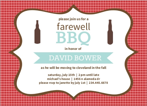 checkered backyard bbq farewell party invite - Goodbye Party Invitation