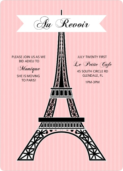 Pink Paris Eiffel Tower Farewell Party Invite | Going Away Invitations