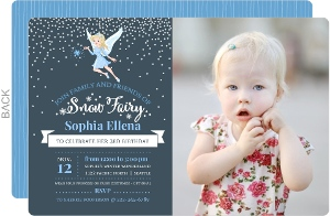 Magical Snow Fairy Kids Birthday Party Invitation
