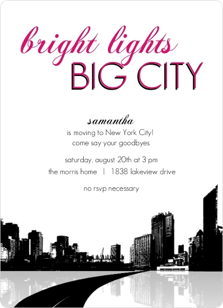 bright lights big city going away party invitation - Going Away Party Invite
