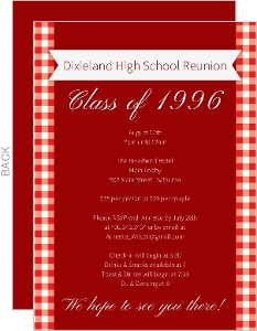 Red and White Checkered Class Reunion Invitation