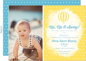 Yellow and Polka Dot First Birthday Invitations