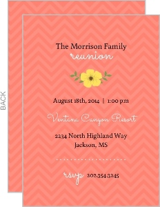 Yellow and Coral Spring Family Reunion Invitation