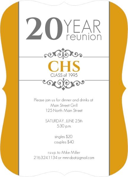 Classic Colors 20 Year Class Reunion Invitation Reunion Invitations