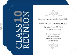 Elegant Blue and Gray High School Reunion Invitation