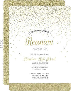 Gold Glitter Class Reunion Invitation