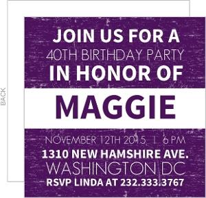 Purple News Flash 40th Birthday Invitation