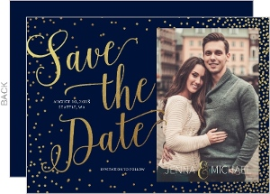 Faux Foil Twinkling Stars Save The Date Announcement