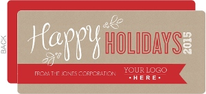 Red banner kraft paper business holiday card for Discount business holiday cards