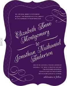 Elegant Royal Purple Wedding Invitation