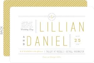 Delicate Gold Chevron Wedding Invitation