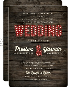 Rustic Marquee Letters Wedding Invitation