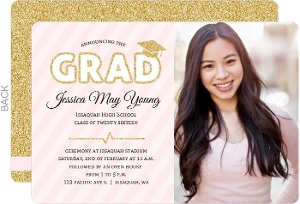 Faux Gold Glitter and Pink Graduation Invitation
