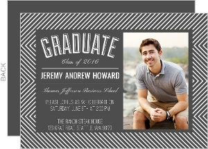 Modern Striped Frame Graduation Invitation