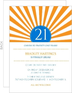 Orange and White Rays 21st Birthday Invitation