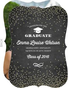 Glitter Confetti Chalkboard Graduation Announcement