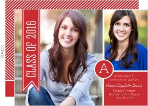 Red Monogram Banner Graduation Announcement