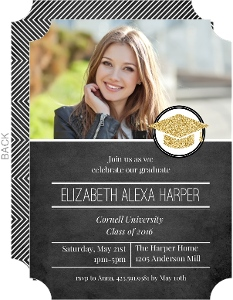 Faux Glitter Graduation Cap Invitation