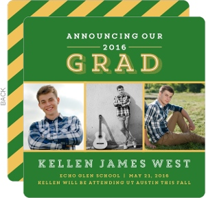Gold and Green Graduation Announcement