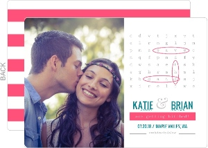 Modern Fun Words Search Save The Date Card