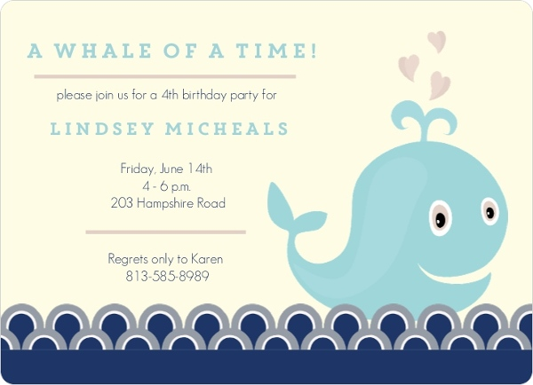 A Whale Of A Time Birthday Invitation Kids Birthday Invitations