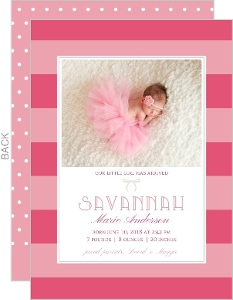 All About Pink Girl Birth Announcement