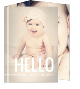 Modern Hello Girl Birth Announcement