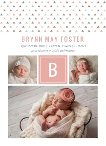 Mod Triangle Pattern Girl Birth Announcement