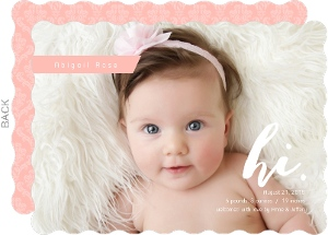 Pink Damask Hi Girl Birth Announcement