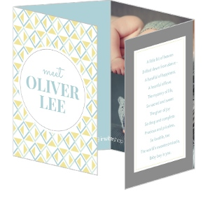Blue Yellow Geometric Pattern Boy Birth Announcement