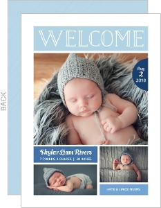 Ombre Blue Photo Collage Boy Birth Announcement