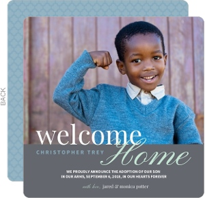 Welcome Home Adoption Announcement