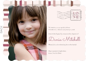 Muted Plaid Special Delivery Adoption Announcement