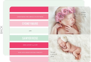 Chic Pink Mint Green Stripes Twin Birth Announcement