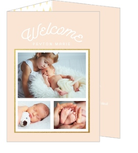 Peach Faux Foil Triangle Pattern Sibling Birth Announcement