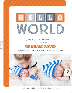 Orange Blue Hello World Blocks Sibling Birth Announcement