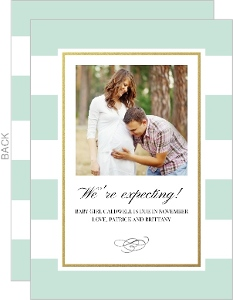 Chic Mint Faux Gold Pregnancy Announcement
