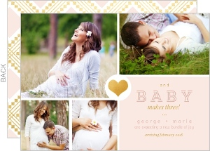 Faux Gold Pink Pregnancy Announcement