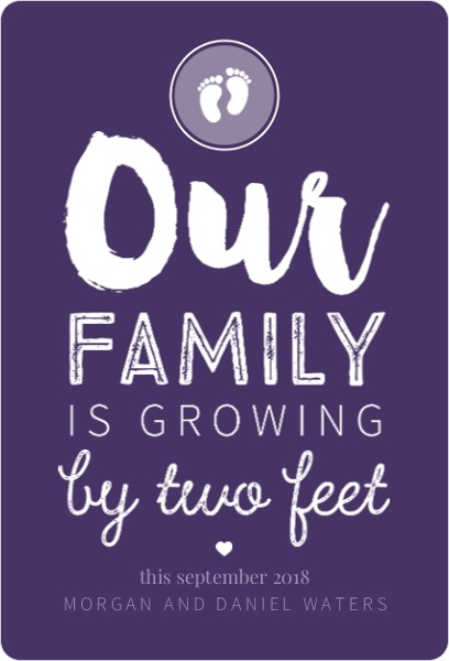 Two Feet Typography Pregnancy Announcement – Electronic Baby Announcements