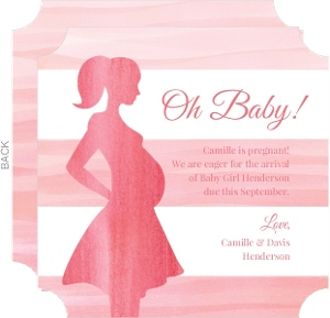 Watercolor Silhouette Mommy Pregnancy Announcement
