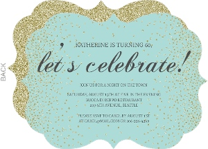 Blue & Faux Glitter Let's Celebrate Birthday Invitation