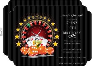 Black Poker Night 40th Birthday Invitation