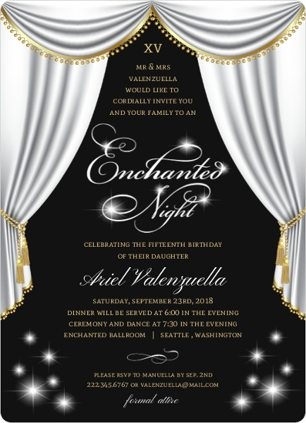 Elegant Enchanted Night Birthday Invitation Quinceanera