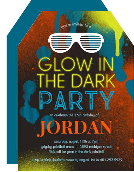 Masculine Glow In The Dark Grunge Birthday Invitation