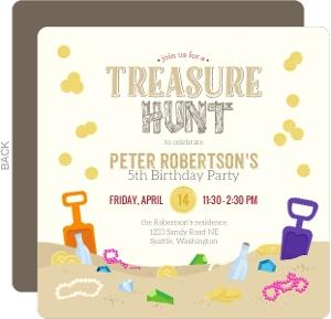 Fun Treasure Hunt Birthday Party Invitation