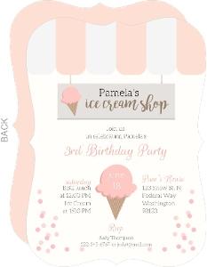 Sweet Pink Ice Cream Shop Birthday Invitation