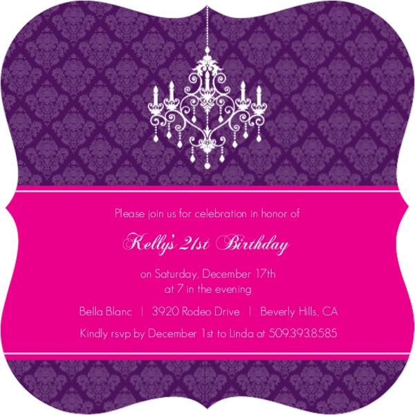 Elegant Damask and Chandelier 21st Birthday Invitation – Damask Birthday Invitations