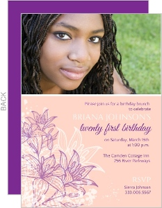 Pink Floral 21st Birthday Party Invitation