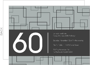 Grey Squares 60th Birthday Invitation